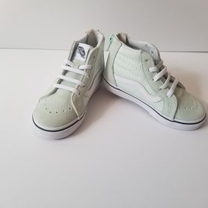 Vans toddler girls mint green and white size 8